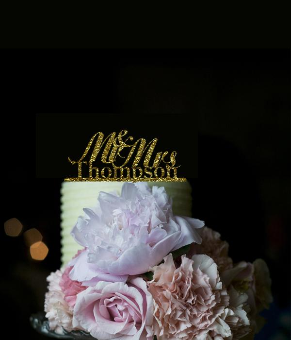 Mr & Mrs Custom Last Name Acrylic Glitter Gold Wedding CakeTopper,Personalized Design Wedding Party Cake Decoration Casamento(China (Mainland))