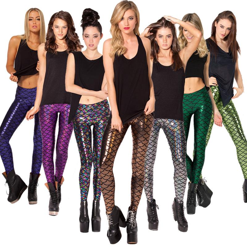 L-1 2016 Spring Summer Ladies Leggings Punk Rock Spandex 3d Mermaid Sport Leggings Fitness Fashion Legging Black Milk Jeggings(China (Mainland))