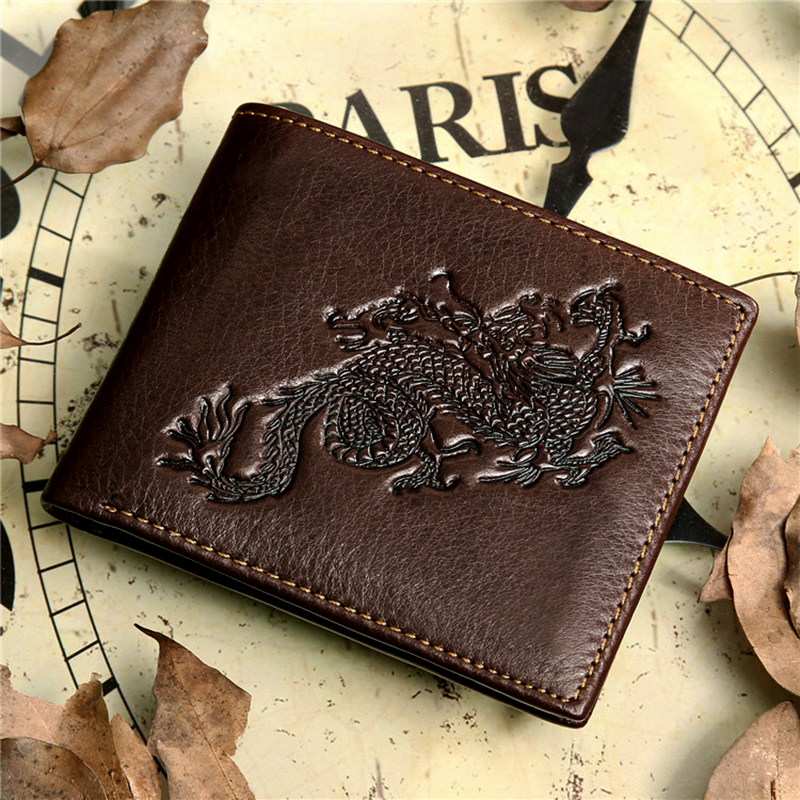 wallet men genuine leather Chinese Dragon totem design real cowhide men wallets purse male short crazy horse leather wallet(China (Mainland))