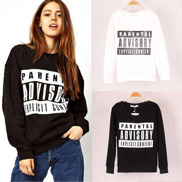 Fashion Brand Women Parental Advisory Printed Sweatshirt Hoody Hoodies Sport Suit Tracksuits pullovers Tops Outerwear for Woman(China (Mainland))