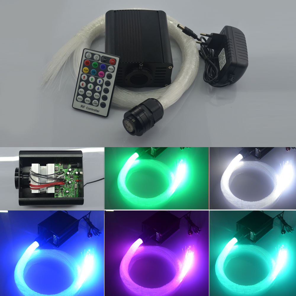 DIY RGBW LED plastic Fiber Optic Star Ceiling Kit Light 150pcs 0.75mm 2M+16W RGBW optical fiber Lights Engine+28key RF Remote(China (Mainland))