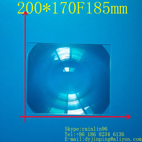 size 200*170MM Focal length 185 mm Acrylic fresnel Lens Rectangle Concentrated amplification DIY projector(China (Mainland))