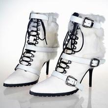 De Calidad superior del Otoño y el Invierno de Crin Hebilla Botines de Las Mujeres zapatos de Punta estrecha Botines Sexy Tacones Altos Botas de Nieve Caliente Mujer(China (Mainland))