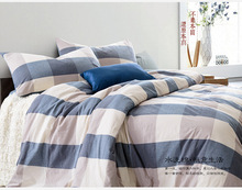 Pure Bue Plaid Bed Linens 100% Cotton 3/4Pcs Quilt Cover Bed Sheet Pillowcase Bedding Duvet Set Bedspread Home Deco