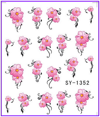 1X Nail Art Water Transfers Stickers Nail Decals Stickers Water Decal Red Flower SY1352(China (Mainland))