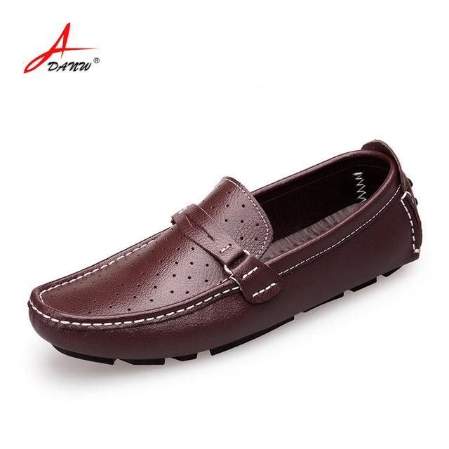 Большой размер 47 супер удобная натуральная кожа мужчины обувь мокасины на шнуровке ...
