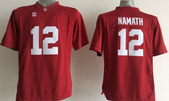 2014 Kids Alabama Crimson Tide #12 Joe Namath 2014 Kids Jersey SEC High Quality Sewn College Football Youth Jersey(China (Mainland))