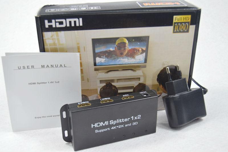 Free Shipping Full HD 1080 HDMI Splitter 1x2 Port 3D 4K x 2K HDMI 1.4v with power adapter(China (Mainland))