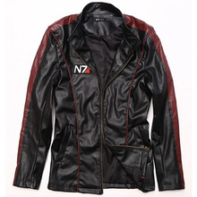 New men Leather Jacket Game Mass Effect N7 winter casual Coat stand collar Men's motorcycle clothing jaquetas de couro costume(China (Mainland))