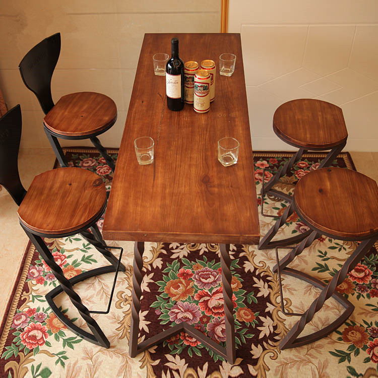Wrought iron bar chairs wood bar chair bar chairs do the old American retro dinette New(China (Mainland))