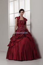 free shipping 2014 new design hot bridal gown good quality custom size/color ball gown with jacket short sleeve wedding dress(China (Mainland))