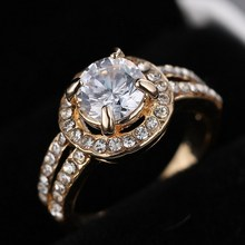 weekend deals his and hers promise ring wedding ring cute rhinestone gold plated Ring for Women Crystal Engagement Wedding Rings(China (Mainland))