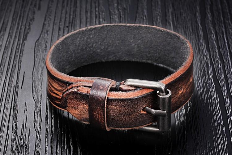 Ретро натуральная кожа мужчины браслеты пряжки манжеты браслет обруча и браслеты рождественский подарок браслет мода мужской бижутерии MS4021