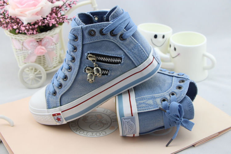 Womens Flat Platform High Upper Jeans Denim Fabric Zipper Lace Canvas Shoes Skull Head Walking Sports Casual Sneakers - AugBlue Fashion store