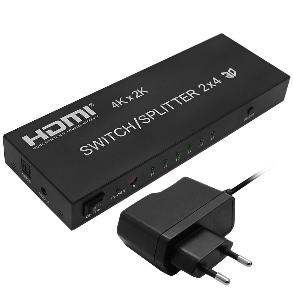 Full HD 1080P 3D 2x4 Matrix HDMI Video Switch Splitter Amplifier 1.4a 4K With Remote For DVD PS3 TV Box HDTV(China (Mainland))