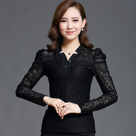 New autumn Plus Size Formal ladies office blouse lace shirt Puff Sleeve Puff Sleeve colete de pele female pullover top TS668(China (Mainland))