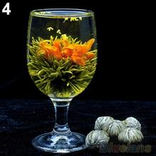 4 Balls Different Handmade Blooming Flower Green Tea Home Wedding Gift 1ON6 1ORU 3E25