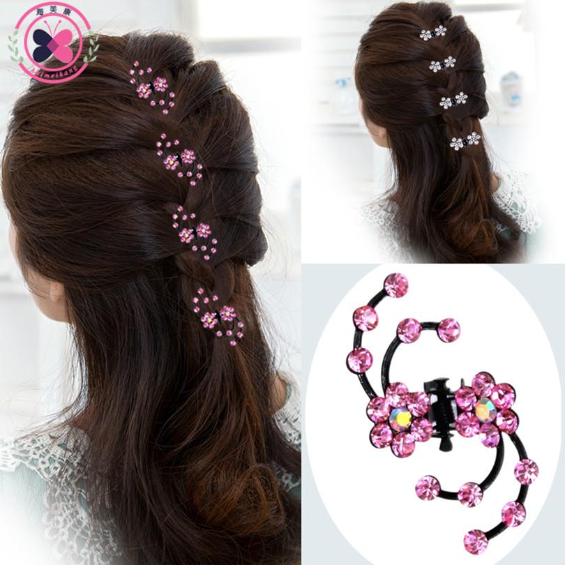 Haimeikang 2017 New Fashion 6Pcs Girls Crystal Snowflake Hair Clips Hairpins Headwear Rhinestone Hair Claws Hair Accessories