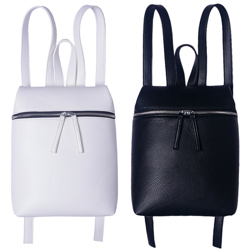 Simple Designer Small Backpack Women White and Black Travel PU Leather Backpacks Ladies Fashion Female Rucksack