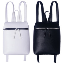 Simple Designer Small Backpack Women White and Black Travel PU Leather Backpacks Ladies Fashion Female Rucksack Back Bags