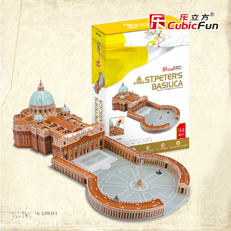 Promotion Gift Cubic Fun 3D Puzzle Toys St.Peter's Basilica (Vaticano) Model DIY Puzzle Toys For Children's Gift(China (Mainland))