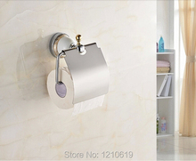 Newly Ceramics Base Bathroom Brass Toilet Roll Paper Holder Cover Chrome Finish Tissue Rack Shelf Wall Mounted - super Sanitary ware factory store