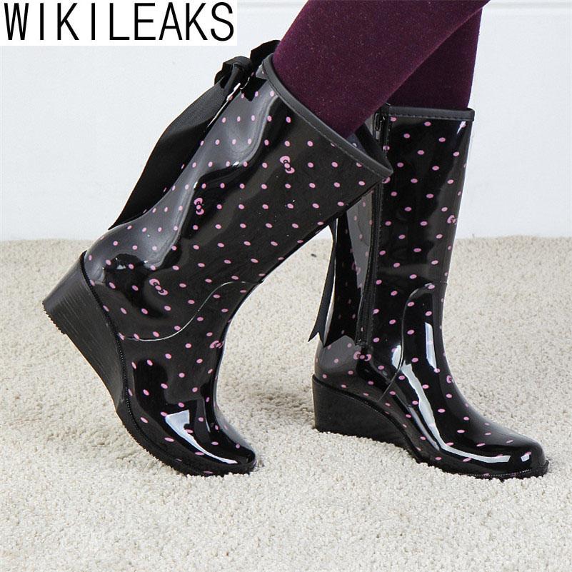 Shoes Woman 2016 Women Fashion Wedages Rain Boots Pink Polka Dot Black Zip Waterproof Wellies Boots With Bowtie Botas De Lluvia(China (Mainland))