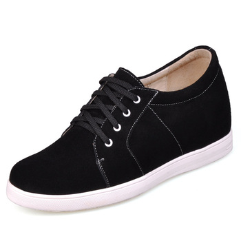 Casual Suede Lace-Up Rubber Sole Men's Elevator Shoes Gain 2.75inches