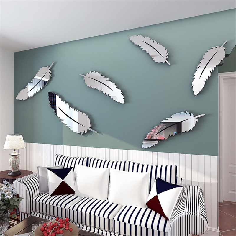 Removable diy silver feather 3d mirror wall art stickers for Stickers miroir