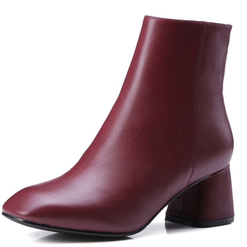 Фотография autumn square toe Comfortable genuine leather ladies women shoes black med wine red army green ankle boot