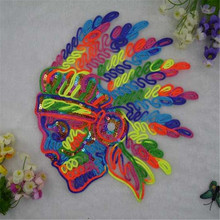 Sequins big colourful skull patches for clothing down coat, jacket men, men jeans, women jeans, t shirt, blusas, skirt, snapback(China (Mainland))