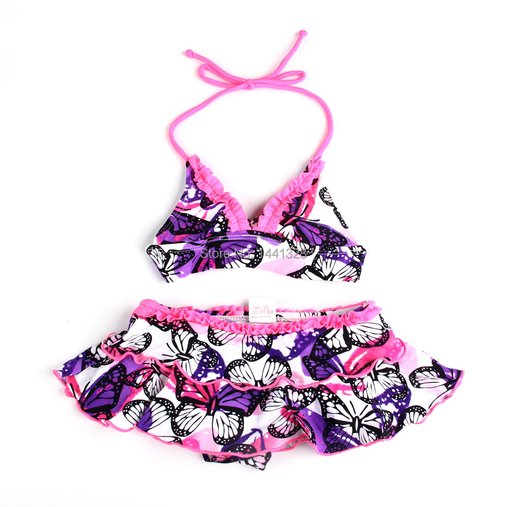 Girls Children Swimming Bathing Suit Biquine Butterfly Printed Costume Swimwear Swimsuit Bikini Meias Infantil Two Pieces Dress(China (Mainland))