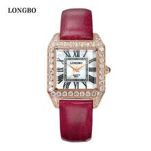 LONGBO Luxury Leather Water Resistant Sports Women Wrist Watch,Women's Inveted Square Diamond Dial Ladies Quartz Watch 6005