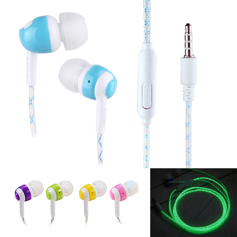 HOT!!! Glow In The Dark Earphones Luminous Neon Headset Flash Light Glowing Earbuds With Microphone Night Lighting(China (Mainland))