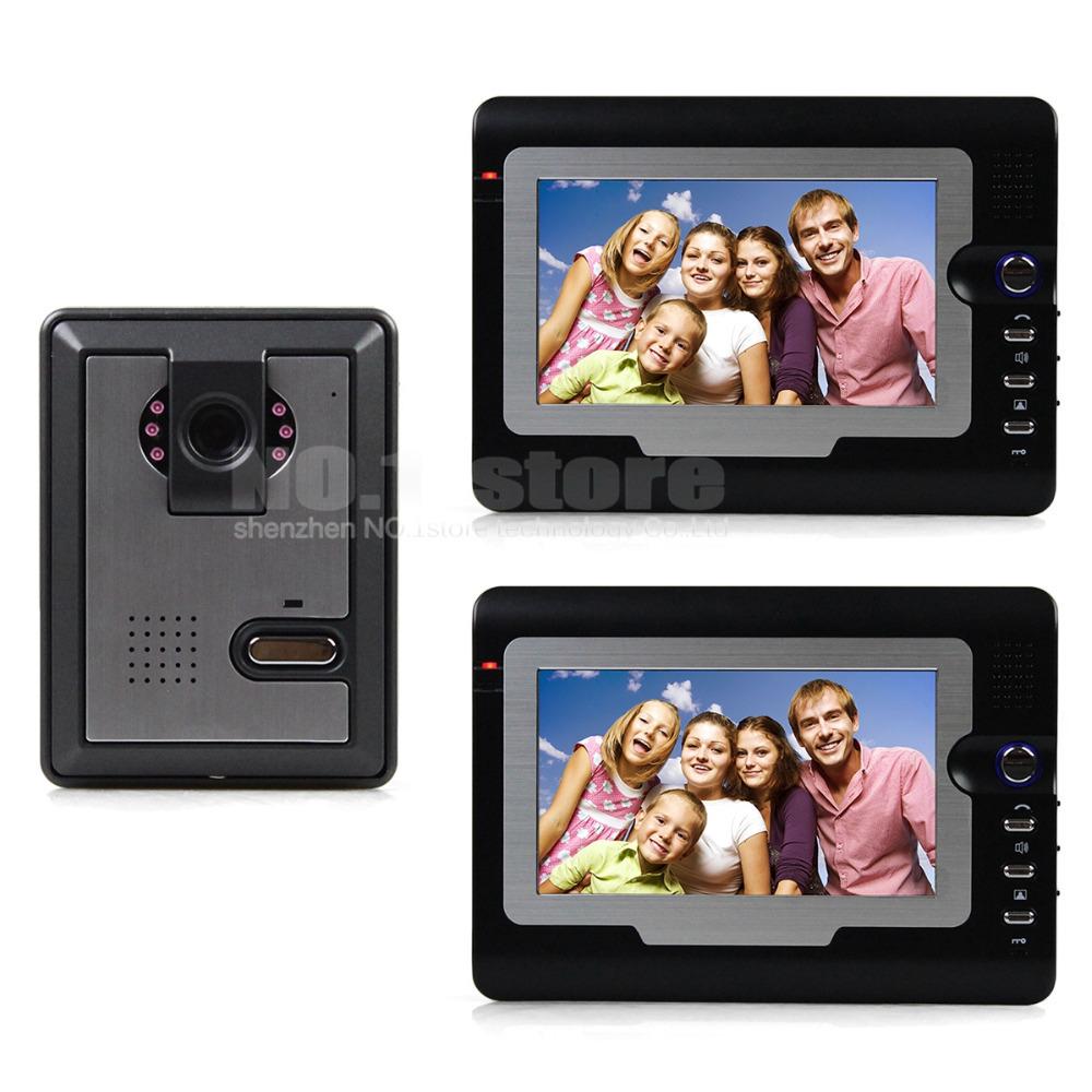 7 inch Video Door Phone Doorbell Video Intercom IR Night Vision Door Camera Of Home Entry Intercom Kit 1 Camera 2 Monitor<br><br>Aliexpress
