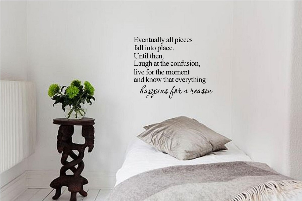 Eventually all pieces fall into place vinyl wall art for Home decorations quotes