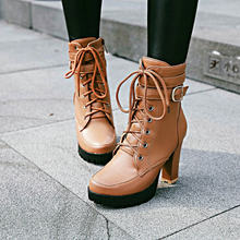 Chunky High Heels Frauen Stiefeletten Lace Up Herbst Winter Plattform Damen Stiefel Große Größe Mode Schuhe Weiß Schwarz Braun 2019(China)