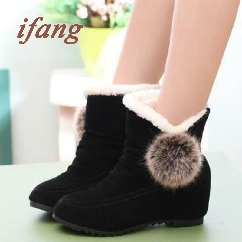 2015 New Shoes Height Increasing Shoes Women Boots Fur Ball Short Boots Female Winter Snow Boots Shoes Keep Warm Casual Shoes