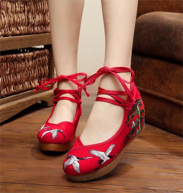 2016 новый вышивка обувь свободного покроя этнические ретро женская кран распечатать ...