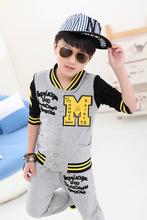 2015 New Children clothing set Sport Package Zipper suit Boy sets Tops + pants 2PCS 100% Cotton Kids clothes Baby clothing(China (Mainland))