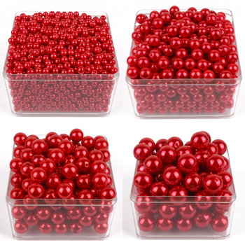 accessories Beads & Jewelry Making 6mm-28mm straight holes red round imitation plasitc pearl beads for jewelry A020