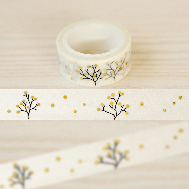 1Roll=15mmx5m Tree Pattern Gold Foil Printing Japanese Washi Decorative Adhesive Tape DIY Masking Paper Tape Label Sticker Gift<br><br>Aliexpress