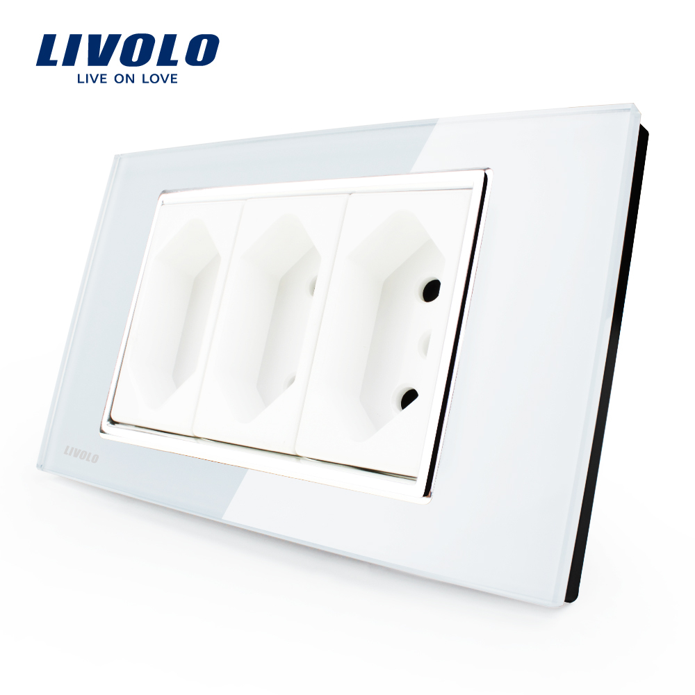 Гаджет  Livolo Italian Standard  3 Pins Socket, White Crystal Glass, 10A/16A, 250V, Wall Powerpoints With Plug,VL-C3C3BIT-81 None Бытовая электроника