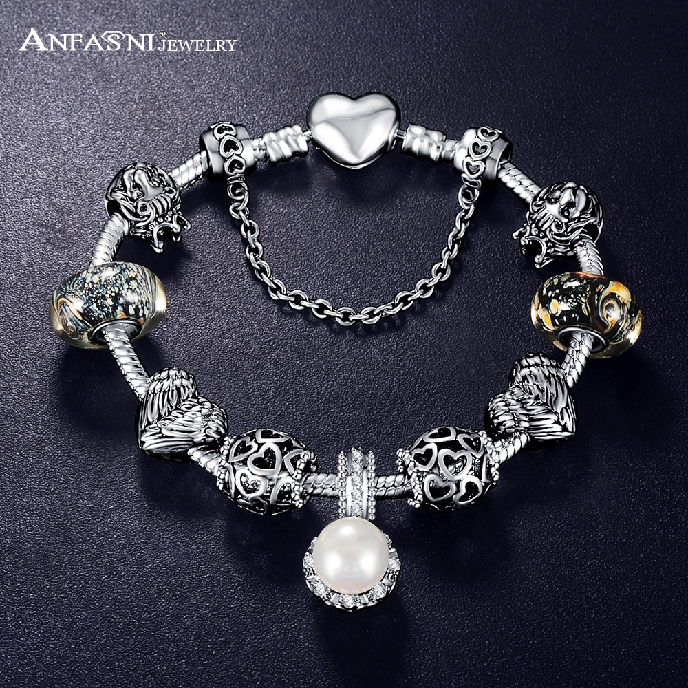 Promotion Sale Antique 925 Silver Charm Fit Bangle & Bracelet with Love and Flower Crystal Ball for Women Wedding(China (Mainland))