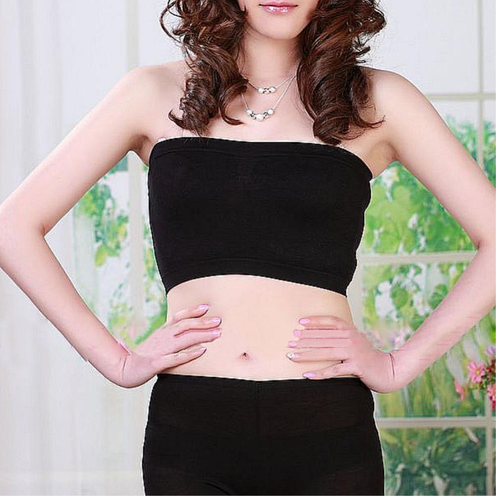 Underwear Womens Ladies Sexy Seamless Strapless Boob Tube Top Stretch Cotton Bandeau Bra EQZ530(China (Mainland))