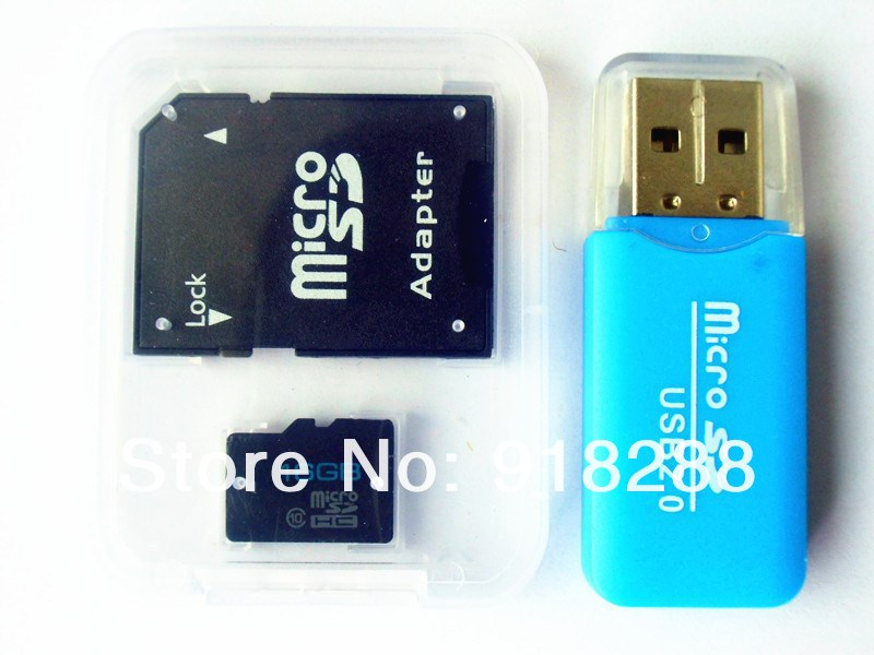 whalesale 10 (real capacity 8GB) micro ship 64gb 128gb SDHC TF Flash Memory Card class SD adapter + card reader - Charm techonology Co. ltd store