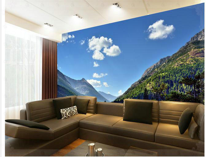Wallpaper Sky Mountain View landscape pond tree mural wallpaper mural wall paper papel de parede wall stickers wallpaper20151143(China (Mainland))