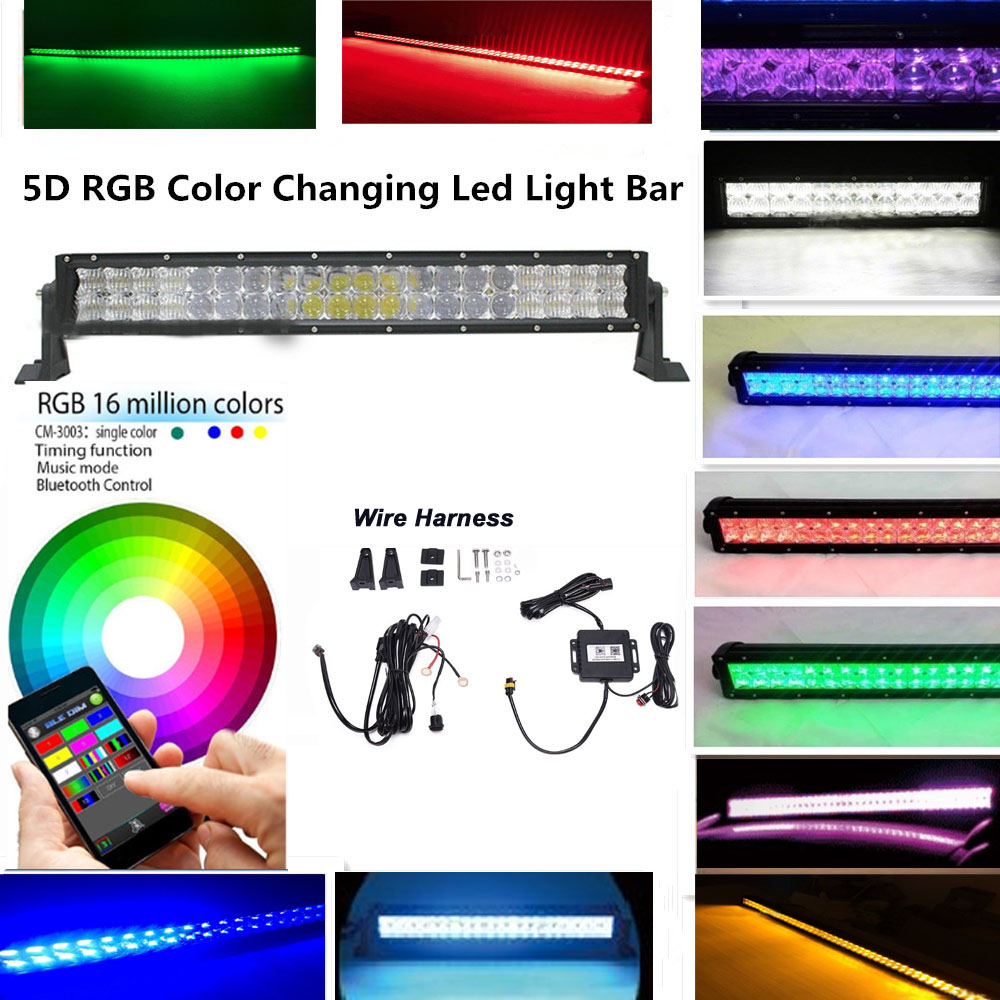 "22"" 120W 5D RGB LED Light Bar Strobe Flash Multicolor for SUV ATV Truck wiring Harness Bluetooth 4.0 IOS and Android Control Bar(China (Mainland))"