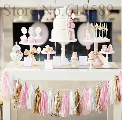 "White,Pink And Gold Tassel Garland 50pcs/Lot 14"" Tissue Paper Tassel Garland Wedding Birthday Party Decor Tissue Paper Pom(China (Mainland))"