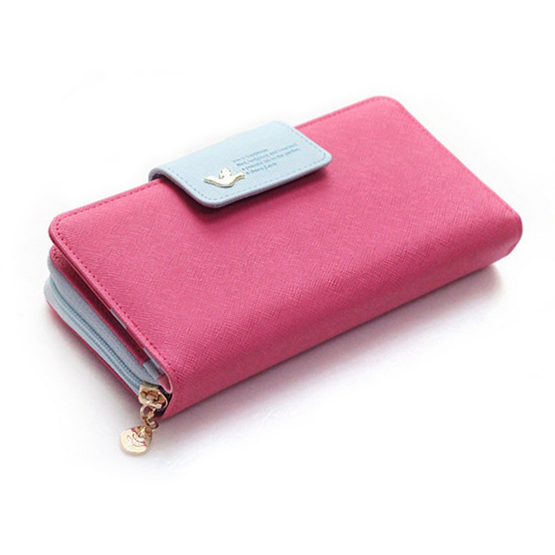 2016 New fashion Women Wallet Candy Lady PU Zipper Wallets Pink Cute Cheap Wallet 6 Colors floral wallet long popular Y096(China (Mainland))